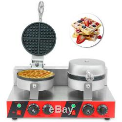 1000W Commercial Double Pan Waffle Maker Non-Stick Waffle Machine Pancake Making