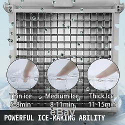 110lb Ice Maker Ice Cube Making Machine 50kg Stainless Steel 5X8PCS LED Control