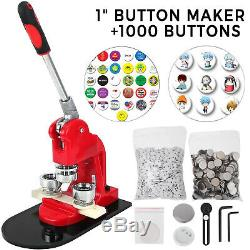 1 25mm Badge Button Maker Press + 1000 Parts Making Kit Metal Slide Machine