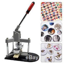 2 Button Maker Machine Badge Punch Press Making Tool & 300PCS Button Pin Parts