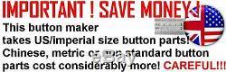 3.5 Button Maker 3-1/2 Badge Machine Press to make BIG buttons +500 Parts