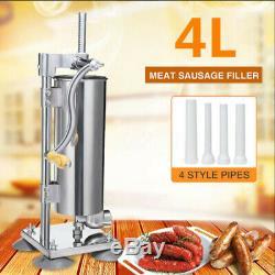 4L Stainless Steel Manual Sausage Filler Salami Meat Making Machine Food Maker