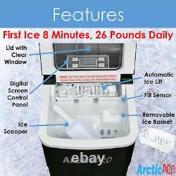 Arctic-Pro Portable Digital Quick Ice Maker Machine, Black, Makes 2 Ice Sizes