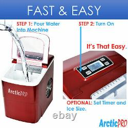 Arctic-Pro Portable Digital Quick Ice Maker Machine, Red, Makes 2 Ice Sizes