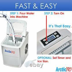 Arctic-Pro Portable Digital Quick Ice Maker Machine, Silver, Makes 2 Ice Sizes