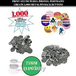 Button Making Machine Pin Maker Supplies Kit 1,000 Pin Badges Button Badge