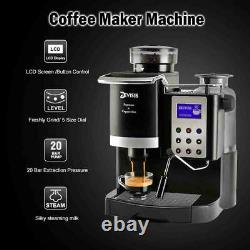 Coffee Maker Machine With Conical Grinder Milk Warmer For Making Espresso Latte