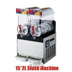 Commercial 2 Tank Frozen Drink Slush Slushy Making Machine Smoothie Maker 30L