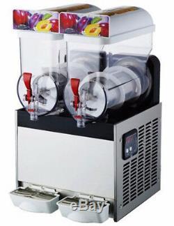 Commercial 2 Tank Frozen Drink Slush Slushy Making Machine Smoothie Maker 30 L