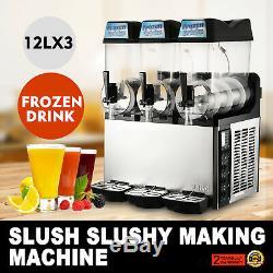 Commercial 3 Tank 36L Frozen Drink Slush Slushy Make Machine Smoothie Maker Ice