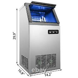 Commercial Ice Maker Ice Machine 110Lbs Ice Cube Making Machine Stainless Steel