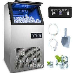 Commercial Ice Maker Ice Machine 132Lbs Ice Cube Making Machine Stainless Steel