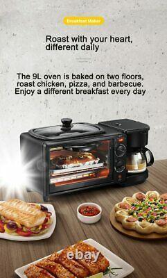 Electric 3 in 1 Breakfast Making Machine Multifunction Coffee Maker Bread Pizza