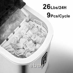 Euhomy Ice Maker Machine Countertop, Makes 26 lbs Ice in 24 hrs-Ice Cubes Ready