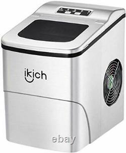 IKICH Ice Maker Machine Counter Top / Ice Cubes Ready in 6 Mins, Make 26 lbs
