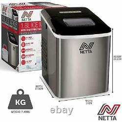 NETTA Ice Maker Machine, Home Use, Makes Cubes In 10 Minutes, Large 12kg, 1.8L