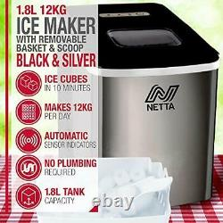 NETTA Ice Maker Machine for Home Use Makes Cubes in 10 Minutes Large 12kg