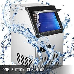 Ommercial Ice Maker Ice Machine 110Lbs Ice Cube Making Machine Stainless Steel