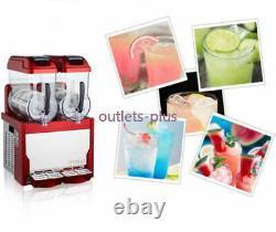 Red Commercial 2 Tank Frozen Drink Slush Slushy Making Machine Smoothie Maker