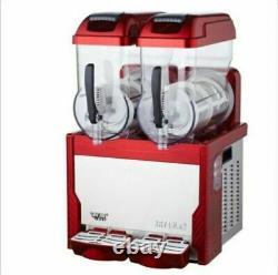 Red Commercial 2 Tank Frozen Drink Slush Slushy Making Machine Smoothie Maker BI