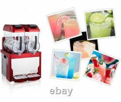 Red-Commercial-2-Tank-Frozen-Drink-Slush-Slushy-Making-Machine-Smoothie-Maker-s