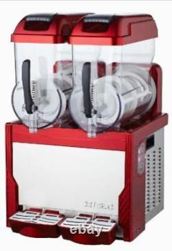 Red Commercial 2 Tank Frozen Drink Slush Slushy Making Machine Smoothie Maker sj