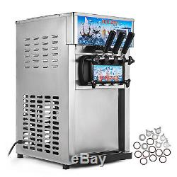 Soft Ice Cream Maker Frozen Yogurt Making Machine 110V 3-flavor Commercial