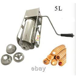 Stainless Steel 5L Hand Crank Horizontal Churro Maker Churros Making Machine