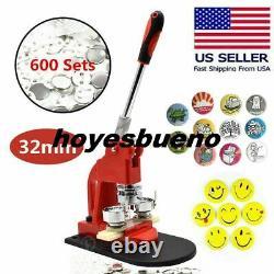 1.25'' Badge Maker Button Making Machine Kit+600pc Pin Button Free Circle Cutter