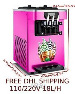 220 V / H 18l Doux Cornets De Crème Glacée Making Maker Commercial Machine Avec 3 Saveurs