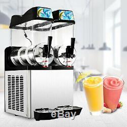 2 Réservoirs Commerciaux Boisson Frozen Slushy Faire 24l Maker Machine Smoothie