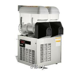 2 Réservoirs Commerciaux Boisson Frozen Slushy Faire 30l Maker Machine Smoothie