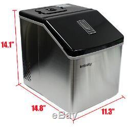 39 Lb / Jour Compact Ice Maker Faire Machine À Glaçons Bureau À Domicile En Acier Inoxydable