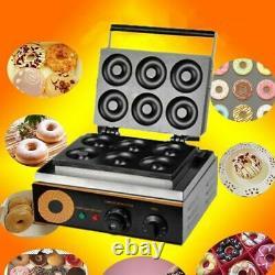 6 Trous Électriques Donuts Maker Commercial Non-stick Round Cake Making Machine