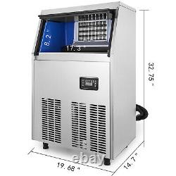 99lbs Commercial Ice Maker Ice Maker Ice Cube Making Machine 45kg Reservation Function Sus