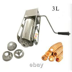 Acier Inoxydable 3l Main Cran Horizontale Churro Maker Churros Making Machine