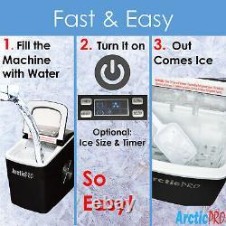 Arctic-pro Portable Machine De Fabrication De Glace Rapide Numérique, Noir, Fait 2 Tailles De Glace