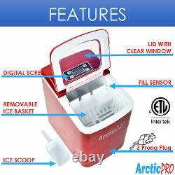 Arctic-pro Portable Machine De Fabrication De Glace Rapide Numérique, Rouge, Fait 2 Tailles De Glace