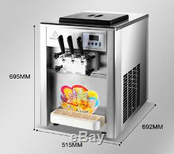 Crème Glacée Molle Maker 2 + 1mix Saveur Douce Twist Ice Cream Making Machine 110v Us