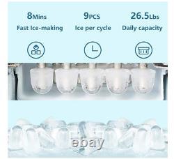 Ice Maker Counter Top Ice Making Machine Ice Scoop Bucket 6.5 Lbs En 24 Heures Rapide