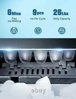 Ikich Ice Maker Machine Counter Top Home, Glaçons Prêt En 6 Minutes, Faire 26 Lbs