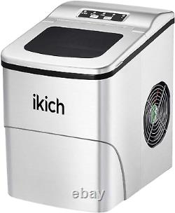 Ikich Ice Maker Machine Counter Top Home Ice Cubes Ready In 6 Mins Make 26lbs