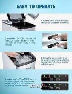 Ikich Ice Maker Machine De Comptoir / Glaçons Prêt À 6 Minutes, Faire 26 Lbs
