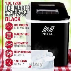 Netta Ice Maker Machine Pour Utilisation À Domicile Rend Cubes En 10 Minutes Grand 1.8l 12 KG